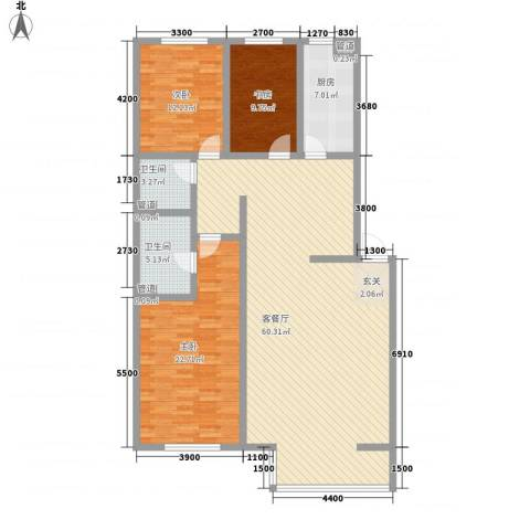 首府国际公馆3室1厅2卫1厨138.00㎡户型图