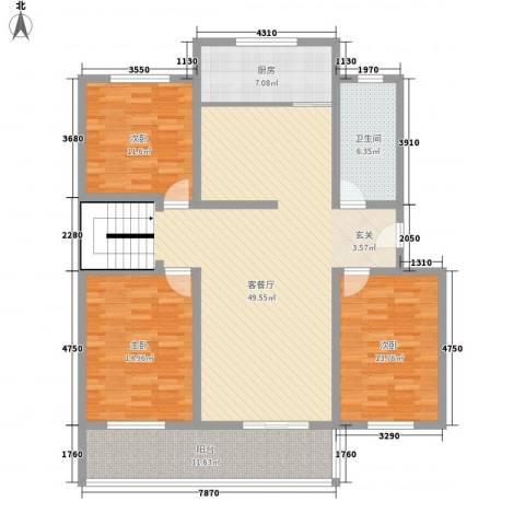 时代新城3室1厅1卫1厨163.00㎡户型图