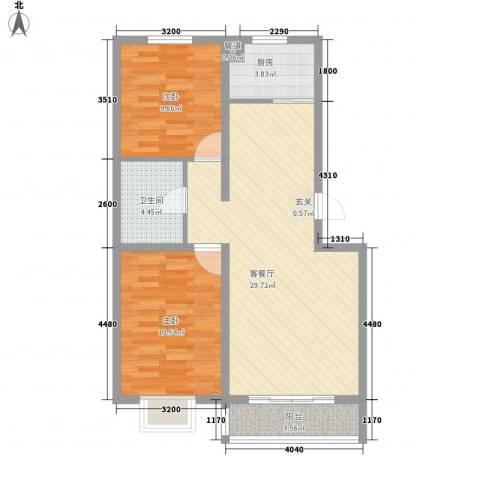 农行宿舍楼2室1厅1卫1厨92.00㎡户型图
