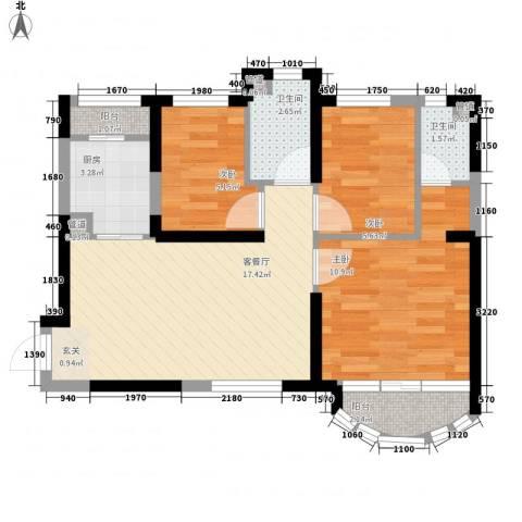 黄金家园3室1厅2卫1厨74.00㎡户型图