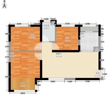 黄金家园3室1厅1卫1厨86.00㎡户型图