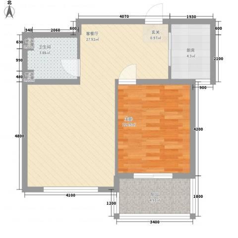 水色时光花园1室1厅1卫1厨77.00㎡户型图