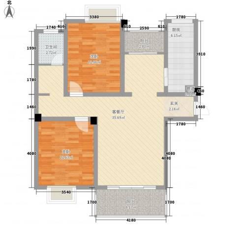 壹品茗筑2室1厅1卫1厨91.30㎡户型图