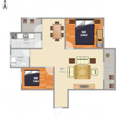 怡海花园6997822室1厅1卫1厨99.00㎡户型图