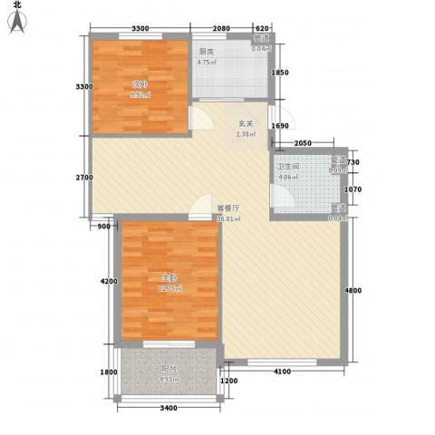 水色时光花园2室1厅1卫1厨102.00㎡户型图
