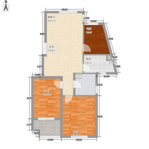 文滨花园3室1厅1卫1厨102.00㎡户型图