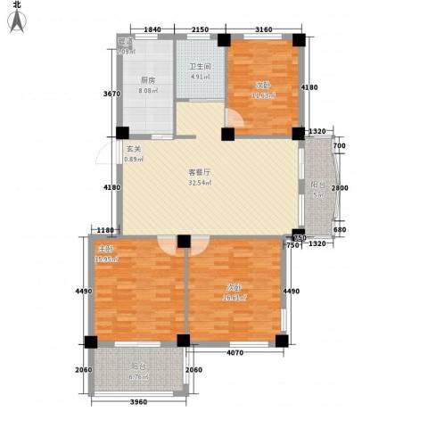 君悦龙庭3室1厅1卫1厨142.00㎡户型图