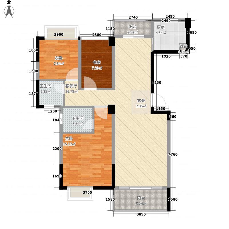金超・君悦雅轩13.80㎡君悦雅轩3栋01户型3室2厅2卫1厨