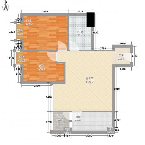 北京路五号公馆2室1厅1卫1厨78.00㎡户型图