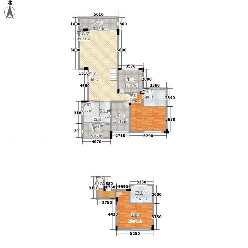 万科金域华庭164.00㎡万科城二期北入户1、9、11#C户型2室2厅3卫