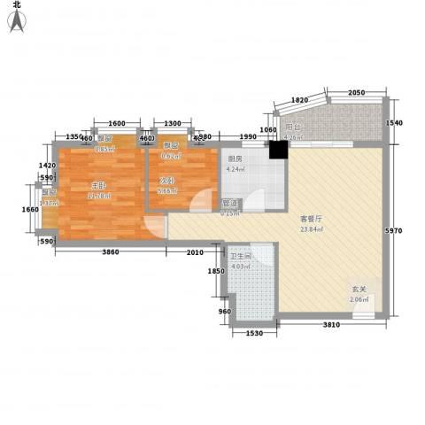 北京路五号公馆2室1厅1卫1厨76.00㎡户型图