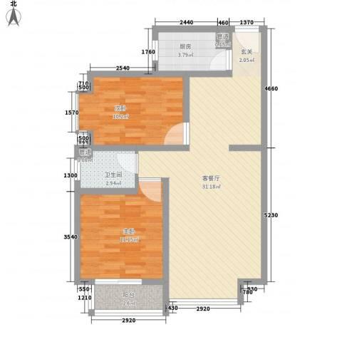 香居美地2室1厅1卫1厨62.08㎡户型图