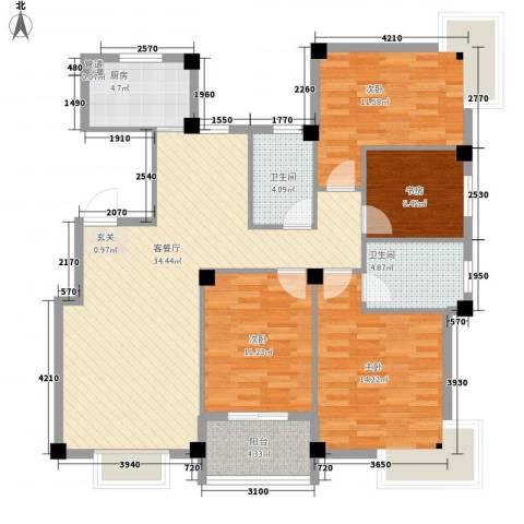 君悦龙庭4室1厅2卫1厨135.00㎡户型图