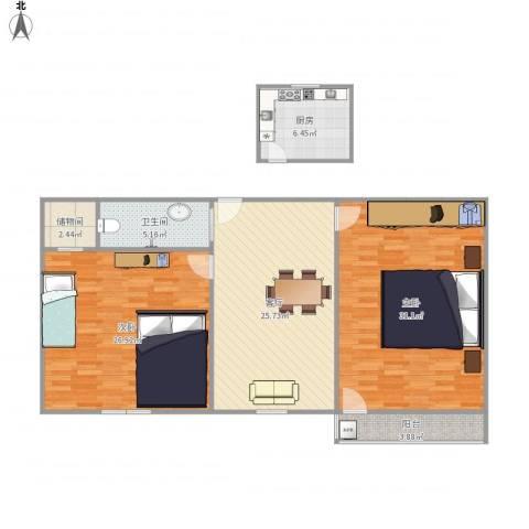 双菱新村2室1厅1卫1厨135.00㎡户型图