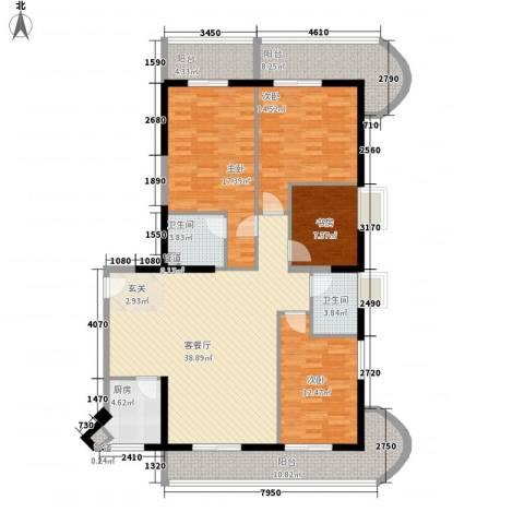 临海苑4室1厅2卫1厨179.00㎡户型图