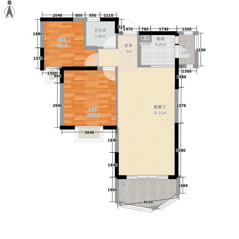 碧桂园十里银滩海景洋房2号楼C1户型2室1厅1卫1厨