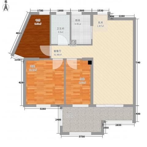 融汇江山3室1厅1卫1厨117.00㎡户型图