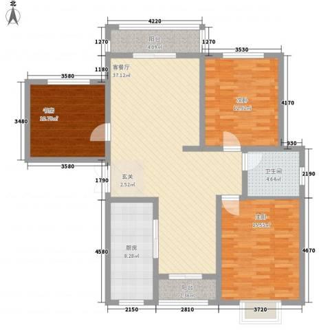 连湖花园3室1厅1卫1厨137.00㎡户型图