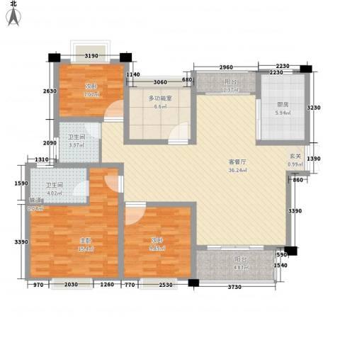 新港天之运3室1厅2卫1厨137.00㎡户型图