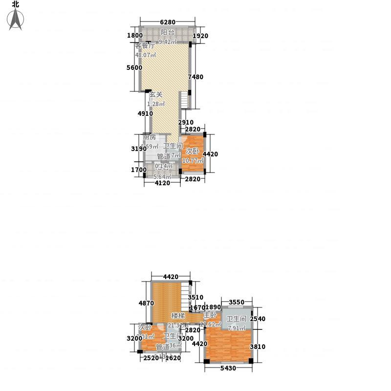 万科金域华庭142.00㎡万科城二期北入户1、9、11#D户型2室2厅2卫