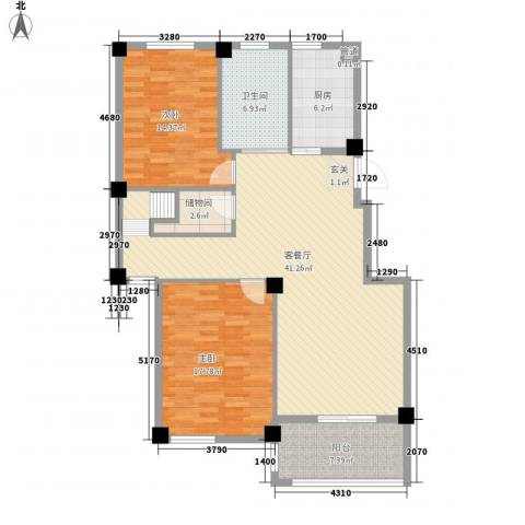 君悦龙庭2室1厅1卫1厨135.00㎡户型图