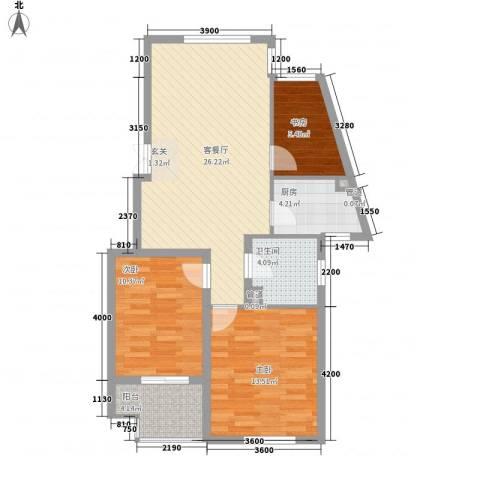 深汇大厦3室1厅1卫1厨97.00㎡户型图