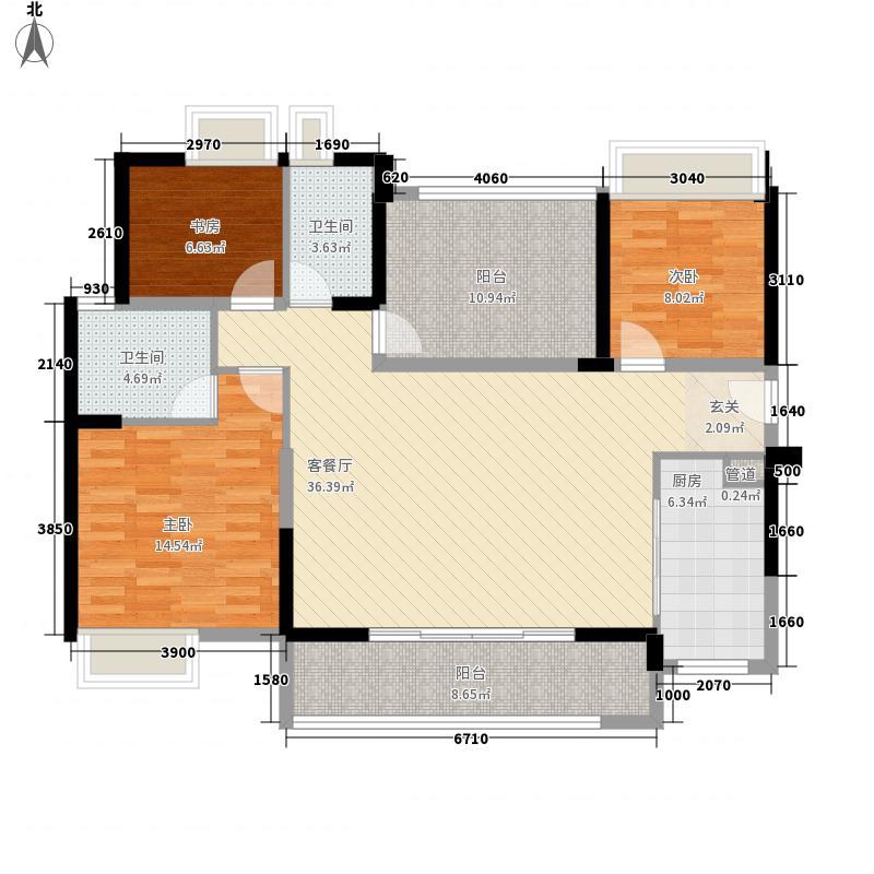 万科金域华庭127.28㎡一期四组团悦水居2DE号楼03号3+户型3室2厅2卫