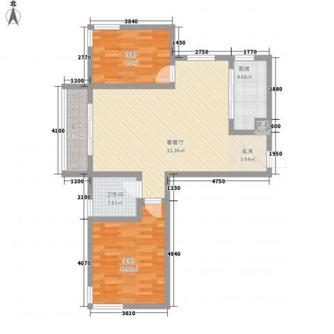 中齐他山2室1厅1卫1厨67.63㎡户型图
