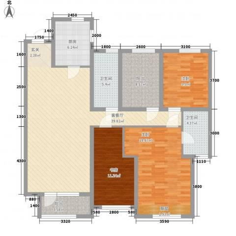 华润橡树湾3室1厅2卫1厨106.78㎡户型图