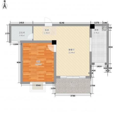 壹品茗筑1室1厅1卫1厨59.00㎡户型图