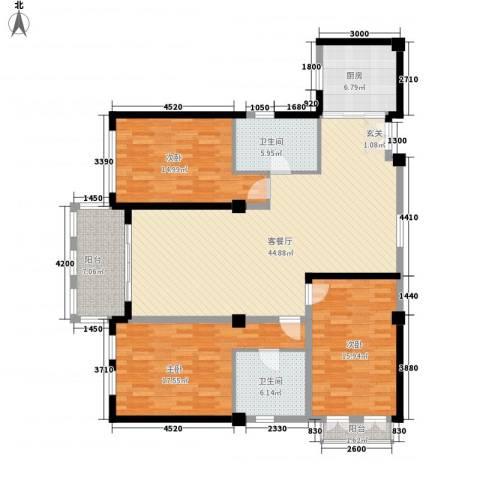 荣华大厦3室1厅2卫1厨171.00㎡户型图
