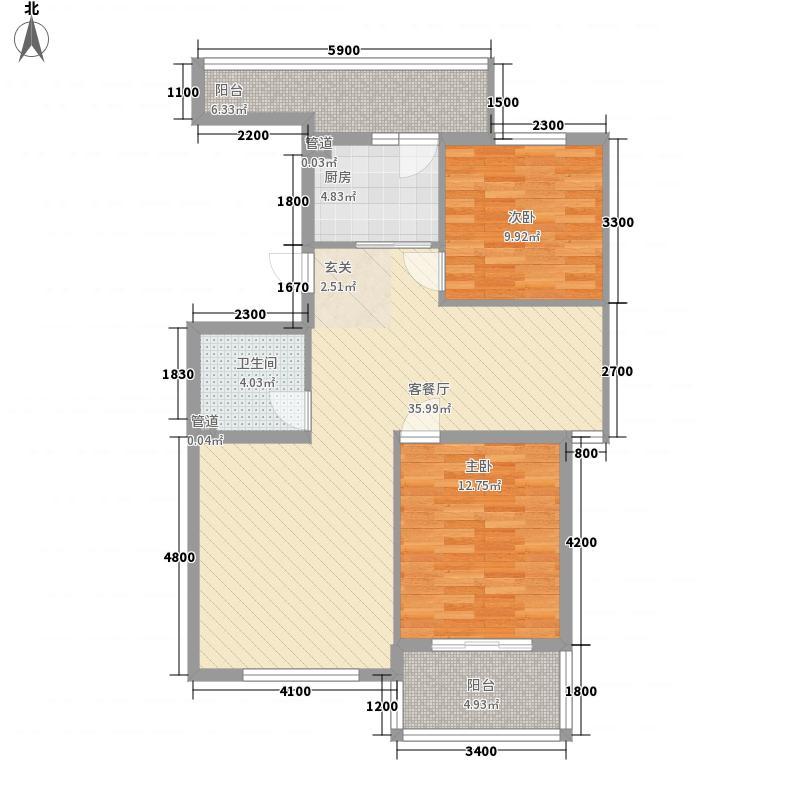 水色时光花园C2户型2室2厅1卫1厨