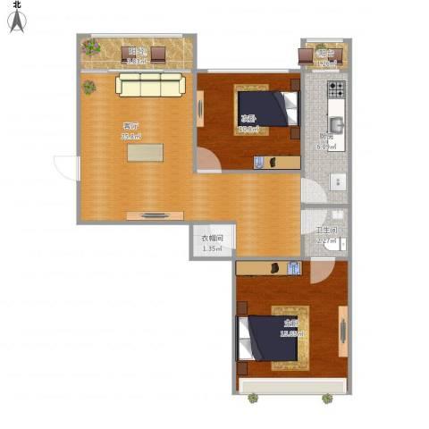 新天地小区2室1厅1卫1厨91.00㎡户型图