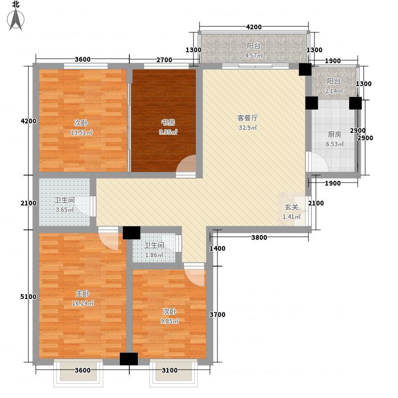 华悦广场14.52㎡C4户型3室2厅2卫1厨