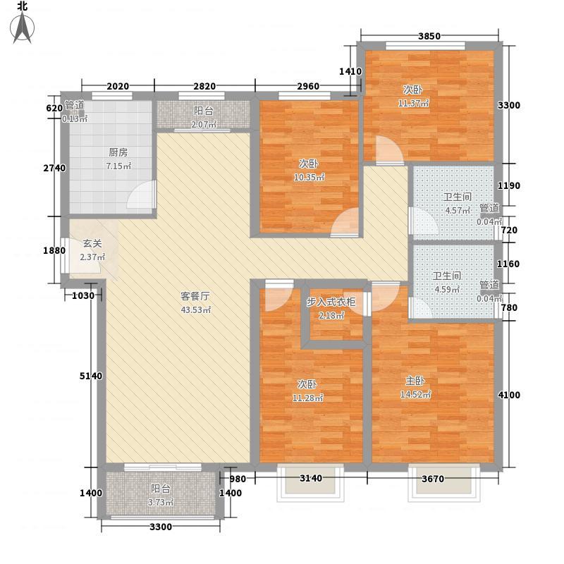 国雅城163.00㎡3#楼D3户型4室2厅2卫1厨