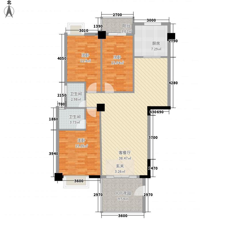 逸景豪庭123.82㎡4幢标准层02单元户型3室2厅2卫1厨