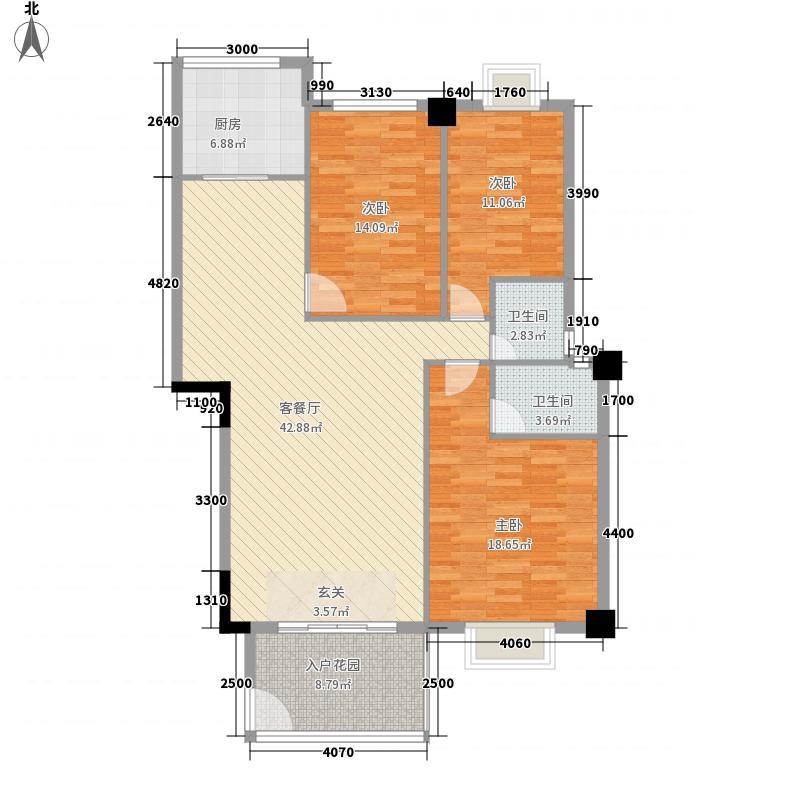 逸景豪庭123.68㎡3幢16层05单元户型3室2厅2卫1厨