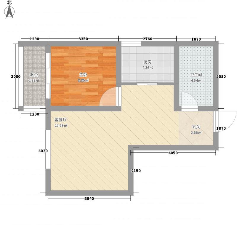 康大风和日丽65.00㎡高层标准层C户型1室2厅1卫1厨