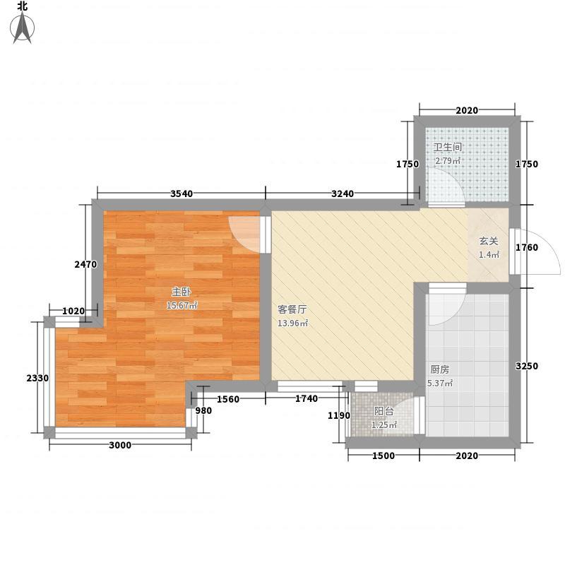 康大风和日丽57.16㎡3期标准层一居室户型1室2厅1卫