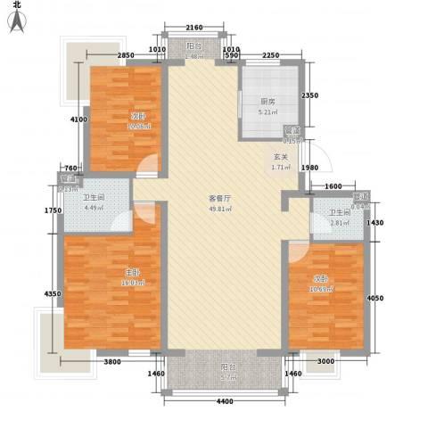 夏威夷南岸二期3室1厅2卫1厨136.00㎡户型图