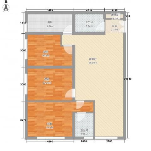 慧丰楼3室1厅2卫1厨121.00㎡户型图
