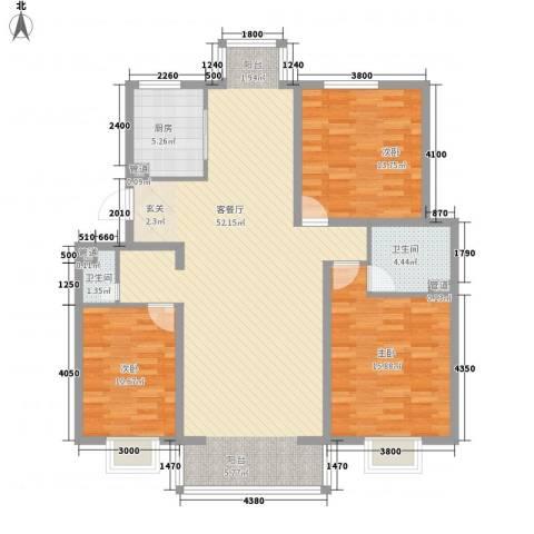 夏威夷南岸二期3室1厅2卫1厨137.00㎡户型图