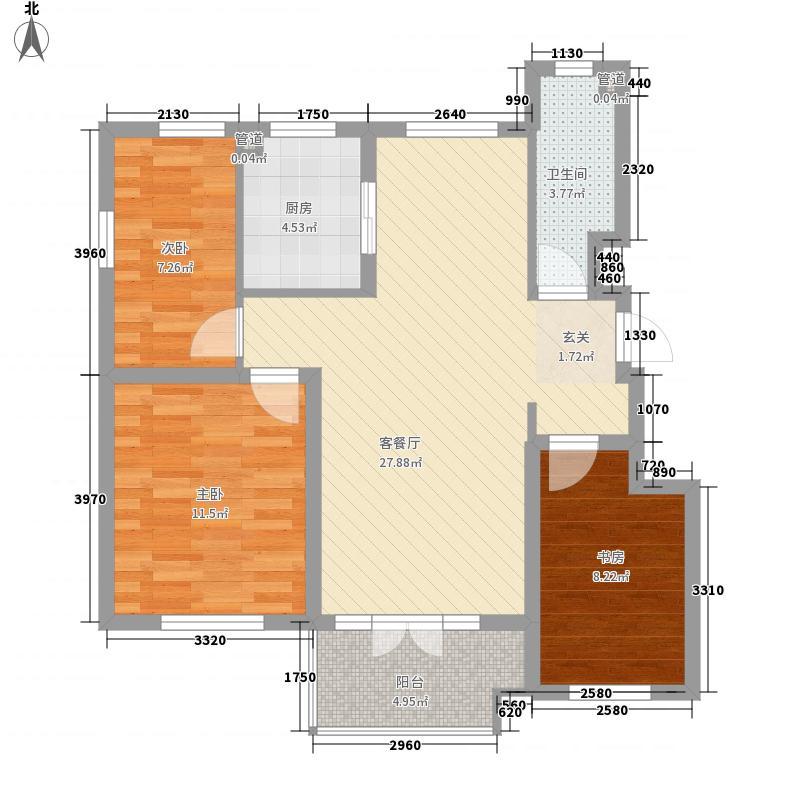 皇山城8.60㎡A1户型3室2厅1卫1厨