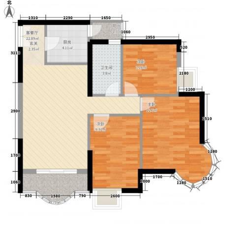 城市杰座3室1厅1卫1厨92.00㎡户型图