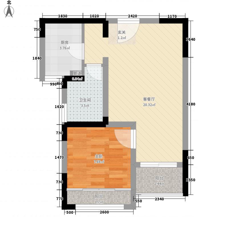 嘉辰丽景苑58.40㎡8号楼B户型1室2厅1卫1厨