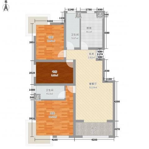夏威夷南岸二期3室1厅2卫1厨123.00㎡户型图