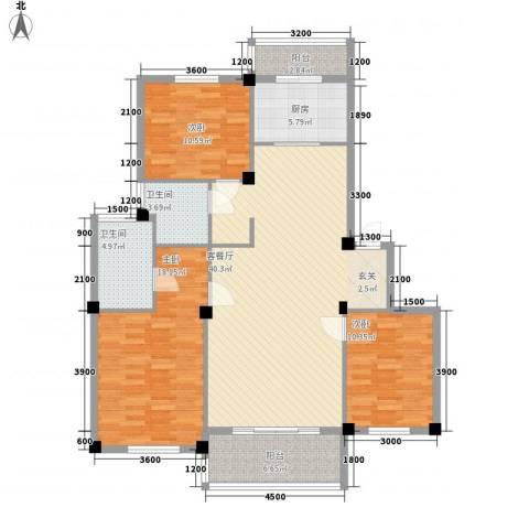 红梅新村3室1厅2卫1厨103.34㎡户型图