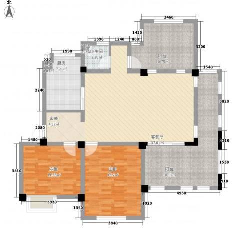 半岛蓝湾2室1厅1卫1厨138.00㎡户型图