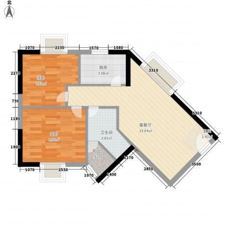 城市杰座2室1厅1卫1厨66.00㎡户型图