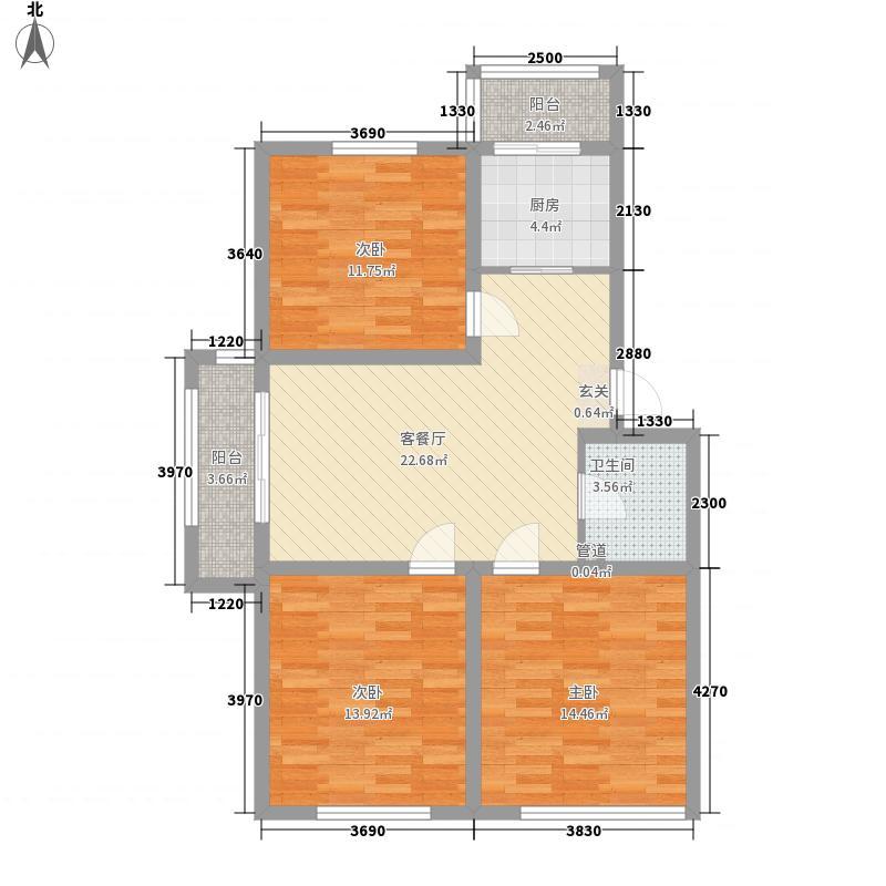 天庭大厦1户型3室1厅1卫1厨